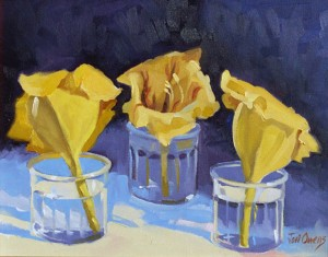 oil painting of three big yellow flowers each in a seperate jar