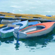 Oil Painting of small boats tied at the dock.